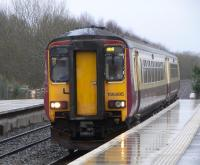 156 495 pulls into a rainswept Auchinleck with a Carlisle to Glasgow service on 26 Feb 2009<br><br>[David Panton&nbsp;26/02/2009]