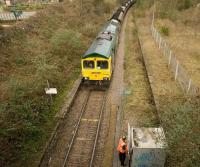Driver obtaining permission to proceed east beyond Ashton Gate towards Bristol with a coal train off the Portbury branch (all outbound trains being required to stop at this point). Freightliner locomotive 66596 is in charge.<br><br>[Peter Todd&nbsp;06/03/2009]