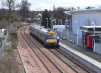 Scene at Alloa on 4 March 2009. 7 seconds past the off but the signal awaited the next service to Glasgow Queen Street formed by 170 461, unusually for this line not an SPT-liveried set.<br><br>[David Panton&nbsp;04/03/2009]