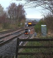 The Spitfire Tours <I>Celtic Growler</I> special passing south through Ladybank on 7 March behind 37676+37606 having arrived off the Perth line. it is abou to cross over to the main up line. (Seen from Heatherinch level crossing.)<br><br>[Brian Forbes&nbsp;07/03/2009]