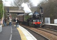 Class A1 Pacific 60163 <I>Tornado</I> runs through Inverkeithing on 7 March 2009 (with the little girl screaming!) on its way south to Edinburgh.<br><br>[Brian Forbes&nbsp;07/03/2009]