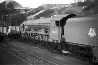 Royal Scot 46102 <I>Black Watch</I> simmers in the sidings at Upperby shed in 1958. One of the examples built by the North British Locomotive Company in Glasgow in 1927, no 46102 was officially withdrawn at the end of 1962 and disposed of by McWilliams of Shettleston in May 1964.  <br><br>[Robin Barbour Collection (Courtesy Bruce McCartney)&nbsp;15/04/1958]
