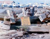 Fairlie Pier (deceased) - dumped on the shore at Largs Marina, Spring 2000 - complete with DANGER sign!<br> <br><br>[Colin Miller&nbsp;//2000]