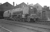 Stanier Coronation Pacific 46244 <I>King George VI</I> outside Kingmoor shed in April 1963.<br><br>[K A Gray&nbsp;12/04/1963]