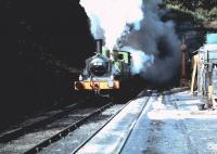 J72 0-6-0T <I>Joem</I> and Austerity 0-6-0ST <I>Antwerp</I> burst out of the south portal of Grosmont tunnel on the NYMR in May 1983.<br> <br><br>[Colin Alexander&nbsp;/05/1983]