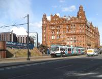 A Metrolink tram runs past the Midland Hotel, the former Midland Railway property in Manchester, on 5 March 2009. The hotel stands opposite the entrance to Manchester Central station.<br><br>[John McIntyre&nbsp;05/03/2009]