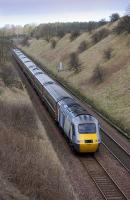 Aberdeen-bound National Express HST service climbing to Lochmuir Summit, north of Markinch, on 12 March 2009.<br><br>[Bill Roberton&nbsp;12/03/2009]