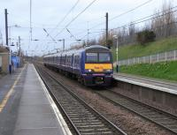 A few tentative daffodils greet passengers arriving at Musselburgh on<br> 322 483 bound for North Berwick on 7 March 2009.  322s are the only  <br> 4-car units in Scotland.  They are also the only ones never paired up in service as they would be too long for platforms. The North Berwick line is again unique in that it has a half-hourly service on Saturday (as here) but only an hourly one Monday to Friday.<br><br>[David Panton&nbsp;07/03/2009]