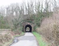 Very near to Burton and Holme station [See image 22857] one of the lanes from Burton passes through this tunnel under the embankment that carries the Lancaster Canal over the valley. Although closed to traffic this stretch of canal still carries water from the Killington Lake feeder reservoir down to the open section south from Carnforth. Map Ref SD 524774. <br><br>[Mark Bartlett&nbsp;14/03/2009]
