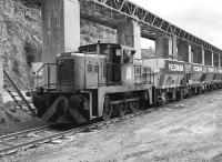 A Yorkshire Engine Co <I>Janus</I> shunter at Merehead quarry on 2 August 1987.<br><br>[Peter Todd&nbsp;02/08/1987]