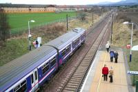 A 322 service from North Berwick leaves Wallyford on 28 February 2009 heading towards the Pentland Hills and its ultimate destination at Edinburgh Waverley.<br><br>[John Furnevel&nbsp;28/02/2009]