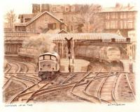 Watercolour painting by Dumfries artist Dennis McCallum entitled <I>Catching up on time</I> showing a train leaving the north end of Dumfries station in the early 1970s. [Editor's note: The painting is based on an old photograph [see image 3438] about which Dennis contacted me through the website asking permission to use it as the basis for this work. He has kindly sent me one of the limited edition prints based on the original painting. His father was a driver at Dumfries shed.]     <br><br>[Dennis McCallum&nbsp;17/08/2009]