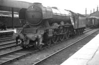 A3 Pacific no 60065 <I>Knight of Thistle</I> photographed at Doncaster in July 1962. [Railscot note: Originally <I>Knight of the Thistle</I> (being named after the winner of the 1897 Royal Hunt Cup) the LNER's 'unauthorised' use of that name raised objections from The Lord Lyon, King of Arms, in Scotland. The nameplates were subsequently amended to read <I>Knight of Thistle</I>, which meant nothing but upset nobody. The locomotive carried the modified nameplates for the remainder of its operational life.] [See image 27939]<br><br>[K A Gray&nbsp;28/07/1962]