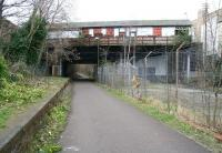 View west along the trackbed at the old Newhaven station on the Caledonian Leith North branch on 15 March 2009. The street level booking office on Craighall Road was used by a local joinery firm for many years following closure in 1962, but the building is now deserted and in a generally poor state of repair.<br><br>[John Furnevel&nbsp;15/03/2009]