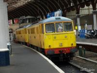 A pair of engineers electric locomotives sit ready in the bay platform<br> at York station.<br><br>[Brian Forbes&nbsp;16/02/2009]