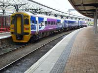 3 car class 158 of Northern Rail leaves York to travel across the Pennines to Blackpool on 16th February<br><br>[Brian Forbes&nbsp;16/02/2009]