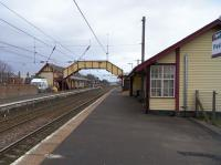 Looking south at Prestwick Town on 26 February 2009. Few minor stations still retain original (or at least old) buildings on both sides.<br><br>[David Panton 26/02/2009]