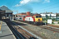 Class 57 no 57308 <I>Tin Tin</I> departs south from Preston station at 1559 hrs on 23 September 2006 at the head of a Glasgow to London Pendolino service.<br><br>[John McIntyre&nbsp;23/09/2006]