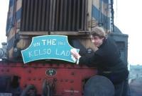 Ian Fergusson shines the headboard he made for the last Kelso freight on 29 March 1968.<br><br>[Bruce McCartney&nbsp;29/03/1968]