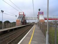 View north at Prestwick International Airport station, or <I>Glasgow Prestwick Airport</I> as the station signage would have it, photographed on 26 February 2009. Coming under the control of the South Ayrshire local authority, this is one of only two stations in Scotland not managed directly by either First ScotRail or Network Rail (the other being the National Express managed Dunbar station).  <br> <br><br>[David Panton&nbsp;26/02/2009]