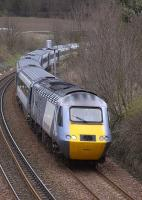The 0948 Aberdeen-Kings Cross NXEC service nears Aberdour on 22 March with 43367 leading.<br><br>[Bill Roberton 22/03/2009]