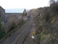 Scene on the Rosyth Dockyard branch, alongside Caldwells paper mill on 22 February 2009. View is south towards Limpetness loop, which is located just around the curve.<br><br>[David Panton&nbsp;22/02/2009]