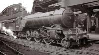 Gresley V2 2-6-2 no 60840 stands with a train at Newcastle Central circa 1960. The locomotive was eventually withdrawn from St Margarets shed two years later and cut up at Inverurie Works in November 1963.<br> <br><br>[K A Gray&nbsp;//1960]