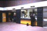 State-of-the-art (at that time) new entrance hall and ticket office at Walsall station in July 1980 - complete with new British Rail blackboard.<br><br>[Ian Dinmore&nbsp;/07/1980]