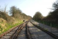 End of the line at Riverside Terminus on the Avon Valley Railway, looking towards Bath in March 2009. The path adjacent to the line is part of a cycle track from Bristol to Bath utilising old railway lines, predominantly the ex-Midland routes via Mangotsfield and Warmley.<br> <br><br>[Peter Todd&nbsp;22/03/2009]