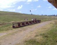 Former trailers used to transport sugar cane, now lying in a disused siding alongside the St Kitts narrow gauge railway on 14 March 2009.<br><br>[Brian Smith&nbsp;14/03/2009]