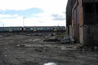 A service from Edinburgh appears to be entering the old shed at Bathgate. Land near the shed has been made into <i>base camp</i> for re-building the Airdrie-Bathgate link and electrification of Edinburgh-Bathgate-Airdrie/Drumgelloch.<br><br>[Ewan Crawford&nbsp;29/03/2009]