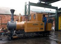 Narrow gauge locomotive <I>Sragi</I> outside the depot at the privately owned Statfold Barn Railway on 28 March. <br><br>[Peter Todd&nbsp;28/03/2009]