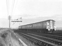 4-car combination DMU on a North Berwick - Waverley service photographed near Drem in the 1960s. <br><br>[Bruce McCartney&nbsp;//]