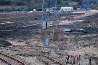 View from the south of the lifted Perth New Yard on 29 March 2009 (one siding remains along the west side). The butchered turntable can be seen right of centre.<br><br>[Ewan Crawford&nbsp;29/03/2009]