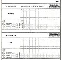 BR Scottish Region Working Timetable Section B, 17 September 1956 to 16 June 1957. Lockerbie to Dumfries line - in its entirety.<br><br>[David Panton&nbsp;28/09/2011]