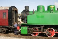 Chunky Polish industrial 0-6-0T locomotive <I>Karel</I> being coupled up at the Riverside terminus of the Avon Valley Railway in March 2009. [Paint courtesy Trotter's Independent Traders]<br><br>[Peter Todd&nbsp;22/03/2009]