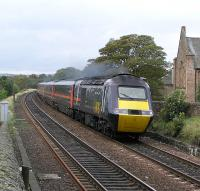 The up <i>Highland Chieftain</i> nears Linlithgow Station on 11 Oct 2004<br><br>[James Young&nbsp;11/10/2004]