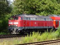 DB 218 407-5 with a train approaching Lubeck, on the Baltic coast, on 28th July 2007.<br><br>[John Steven&nbsp;28/07/2007]