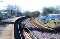 Looking south to Kilmarnock at Stewarton in March 2009 showing the new northbound line being laid.<br><br>[Ewan Crawford&nbsp;29/03/2009]