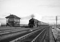 <I>Royal Scot</I> 4-6-0 no 46115 <I>Scots Guardsman</I> (now preserved) hurries past Quintinshill box in November 1964 with the 9.25am Crewe - Perth.<br><br>[Robin Barbour Collection (Courtesy Bruce McCartney)&nbsp;28/11/1964]