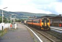Scene at Girvan in 2003 with a northbound train about to leave for Glasgow Central.<br><br>[Andy Kirkham&nbsp;//2003]