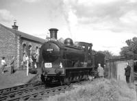 Holmes J36 0-6-0 no 65234 with a railtour at Penicuik terminus in 1964. The Penicuik branch had closed to passengers in 1951 but freight traffic generated by the paper mills along the Esk kept the line open until 1967, the same year the J36 was finally withdrawn from St Margarets. <br><br>[K A Gray&nbsp;29/08/1964]