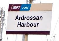 A sole non-standard sign stands defiantly at Ardrossan Harbour on 1 April 2009 - the second line should be left-justified.<br><br>[David Panton&nbsp;01/04/2009]