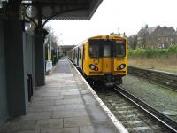 Merseyrail EMU 508134 at Ormskirk on 30 March 2009. Photo looking south towards Liverpool. <br> <br><br>[John McIntyre&nbsp;30/03/2009]