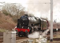 46115 <I>Scots Guardsman</I> pulls its 11 coaches out of Oxenholme down loop on 9 April 2009 to continue its journey north with the Preston to Glasgow leg of the <i>Great Britain II</I> railtour. <br><br>[Mark Bartlett&nbsp;09/04/2009]