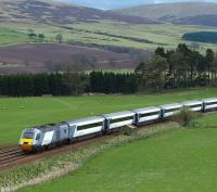 HST set in full National Express East Coast livery heads north, bound for Inverness, on 9 April 2009. Photographed just south of Gleneagles.<br><br>[Brian Forbes&nbsp;09/04/2009]