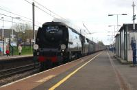 The <I>Great Britain II</I> railtour with 34067 <I>Tangmere</I> which hauled the Bristol to Preston leg on 08 April 2009. It is seen here running effortlessly through Leyland at the end of that leg on the Down Fast line.<br><br>[John McIntyre&nbsp;08/04/2009]