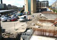 View west over the site of the demolished Caledonian Alehouse on 7 April 2009. The image shows works in connection with the forthcoming Edinburgh Tram system, within which Haymarket will become a major Rail/Tram/Bus interchange.<br><br>[John Furnevel&nbsp;07/04/2009]