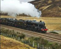 45231 and 45407 with <I>Great Britain ll</I> just north of Dalnaspidal on the climb to Druimuachdar Summit.... and making it look easy.<br><br>[John Gray&nbsp;10/04/2009]