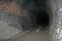Peebles or Neidpath tunnel, looking west on the 11 March 2009. The western exit, seen as a chink of light is still some 400 yards away.<br><br>[James Young&nbsp;11/04/2009]